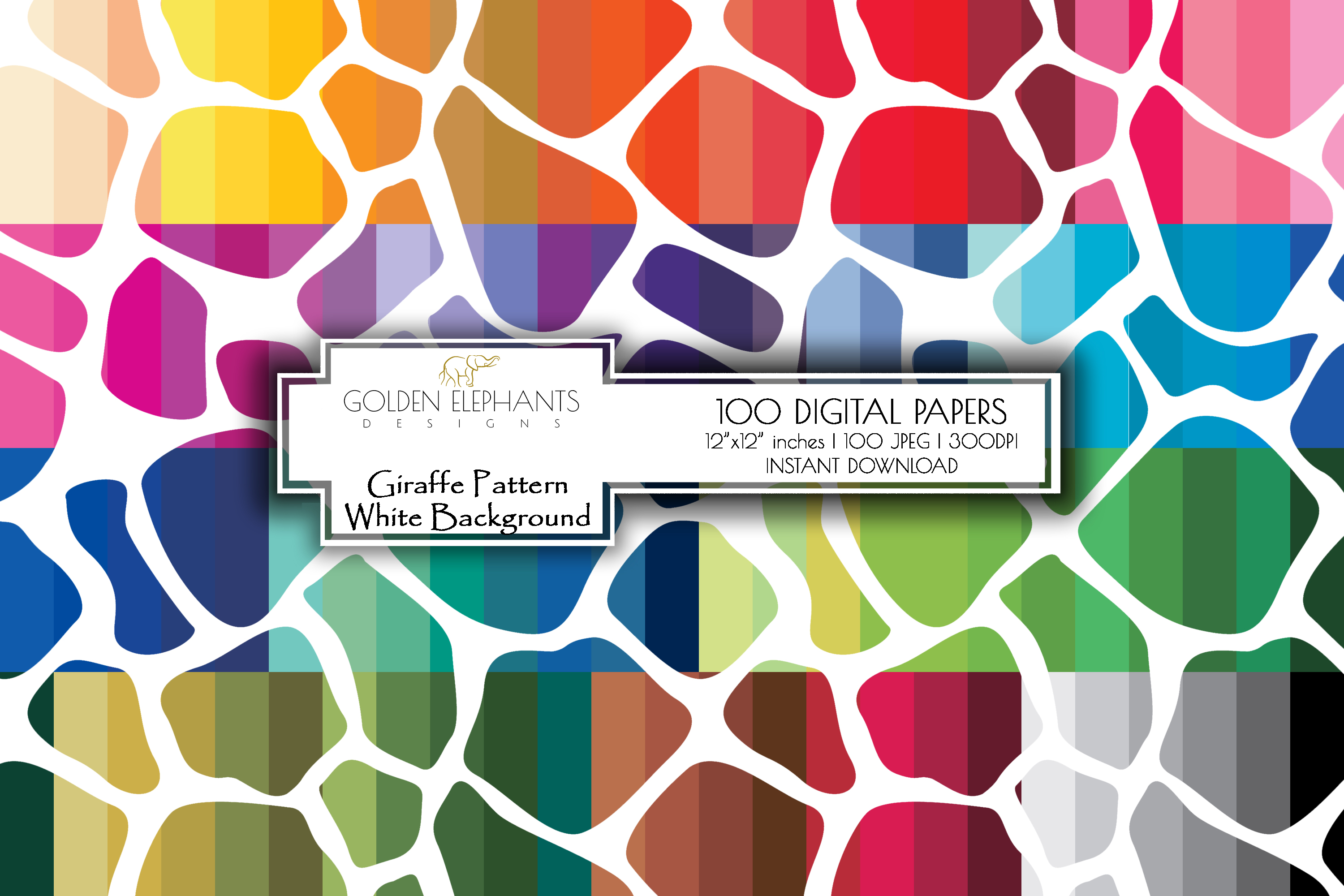 100 Giraffe Pattern w/ White Background Digital Paper example image 1