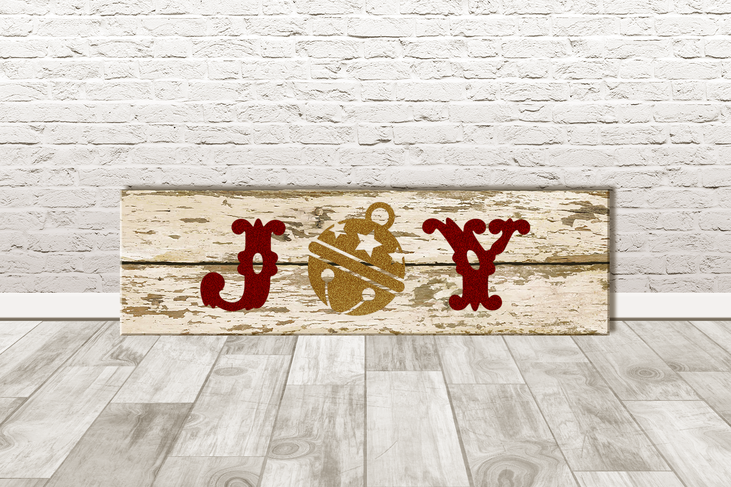 Joy with Bell Porch Sign Christmas SVG Design example image 3