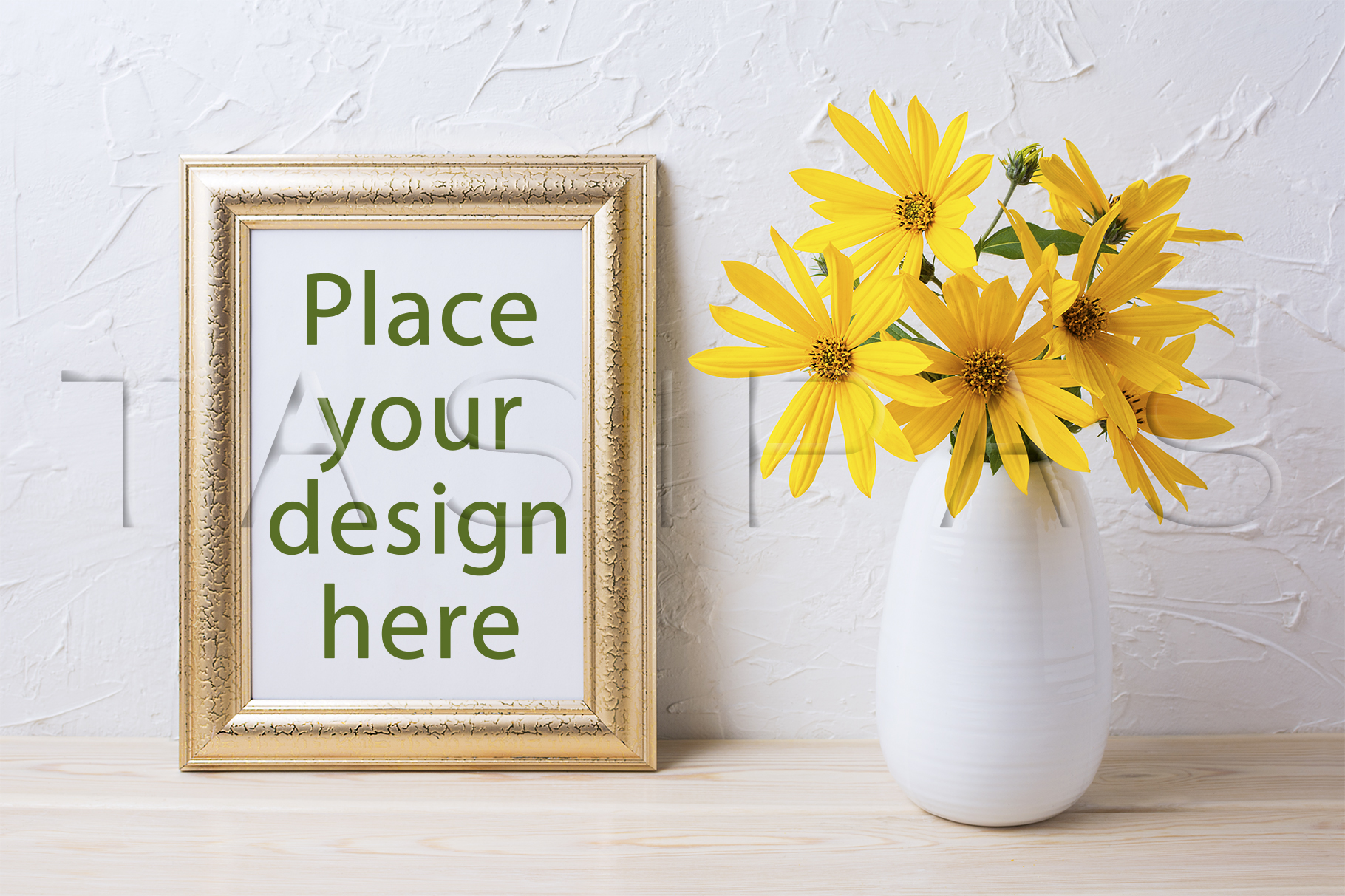 Golden frame mockup with yellow rosinweed flowers in vase example image 1