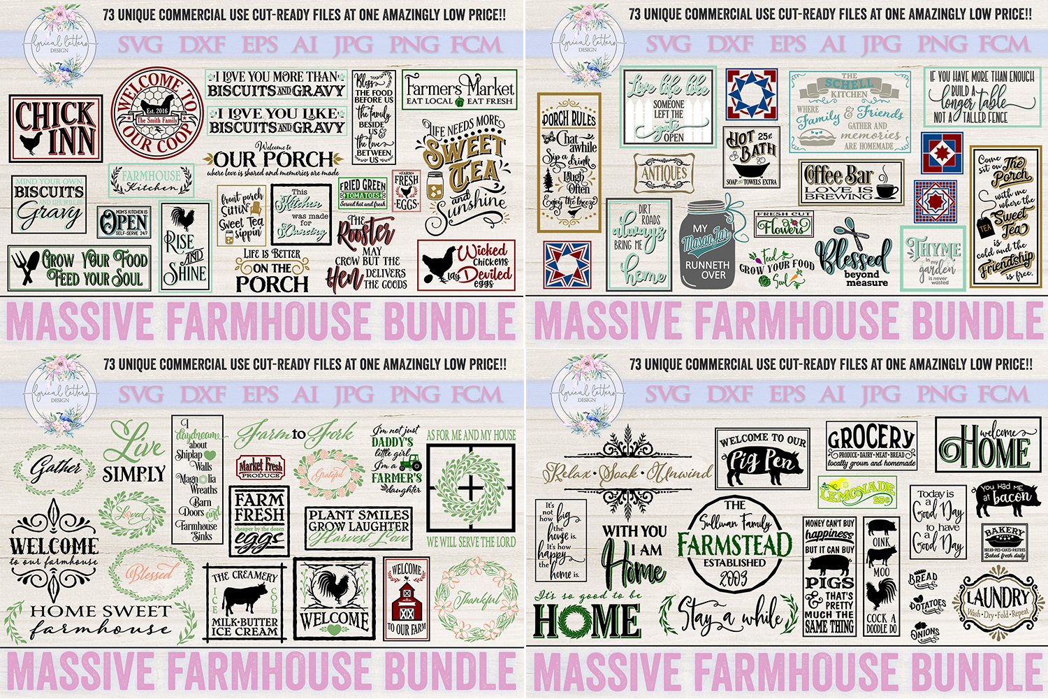 Farmhouse Bundle of 73 SVG DXF Cut File example image 1