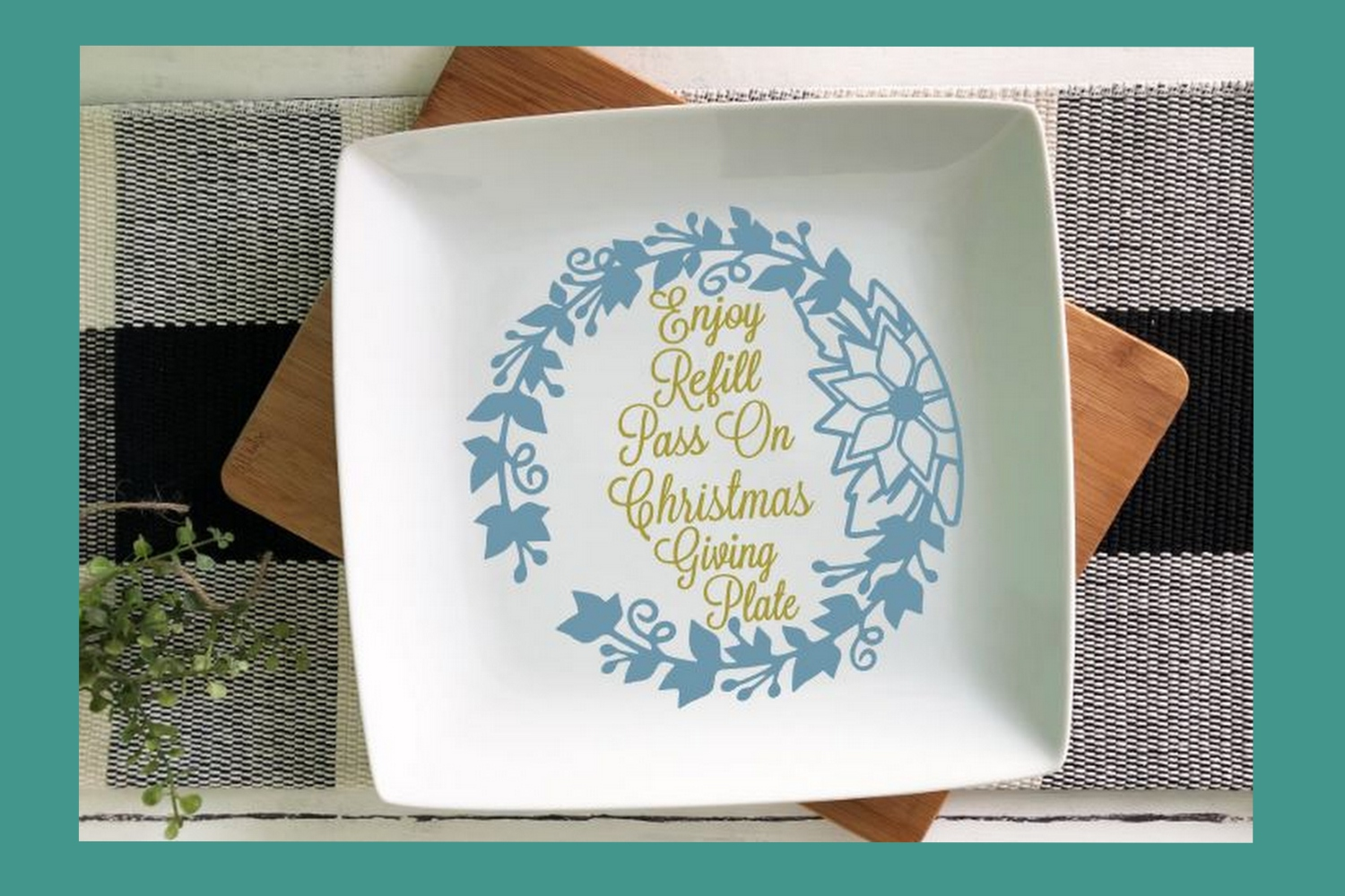 SVG Cut File Christmas Giving Plate Design #06 example image 2