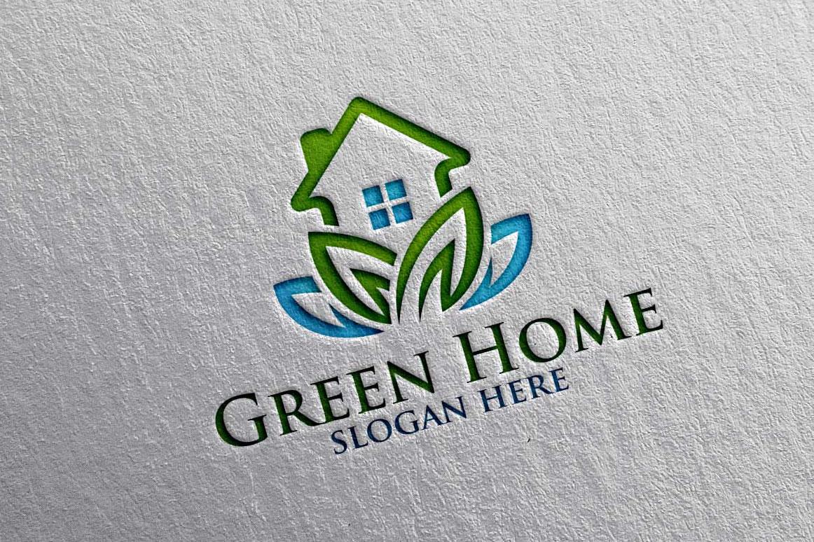 Real estate Logo, Green Home Logo 18 example image 6