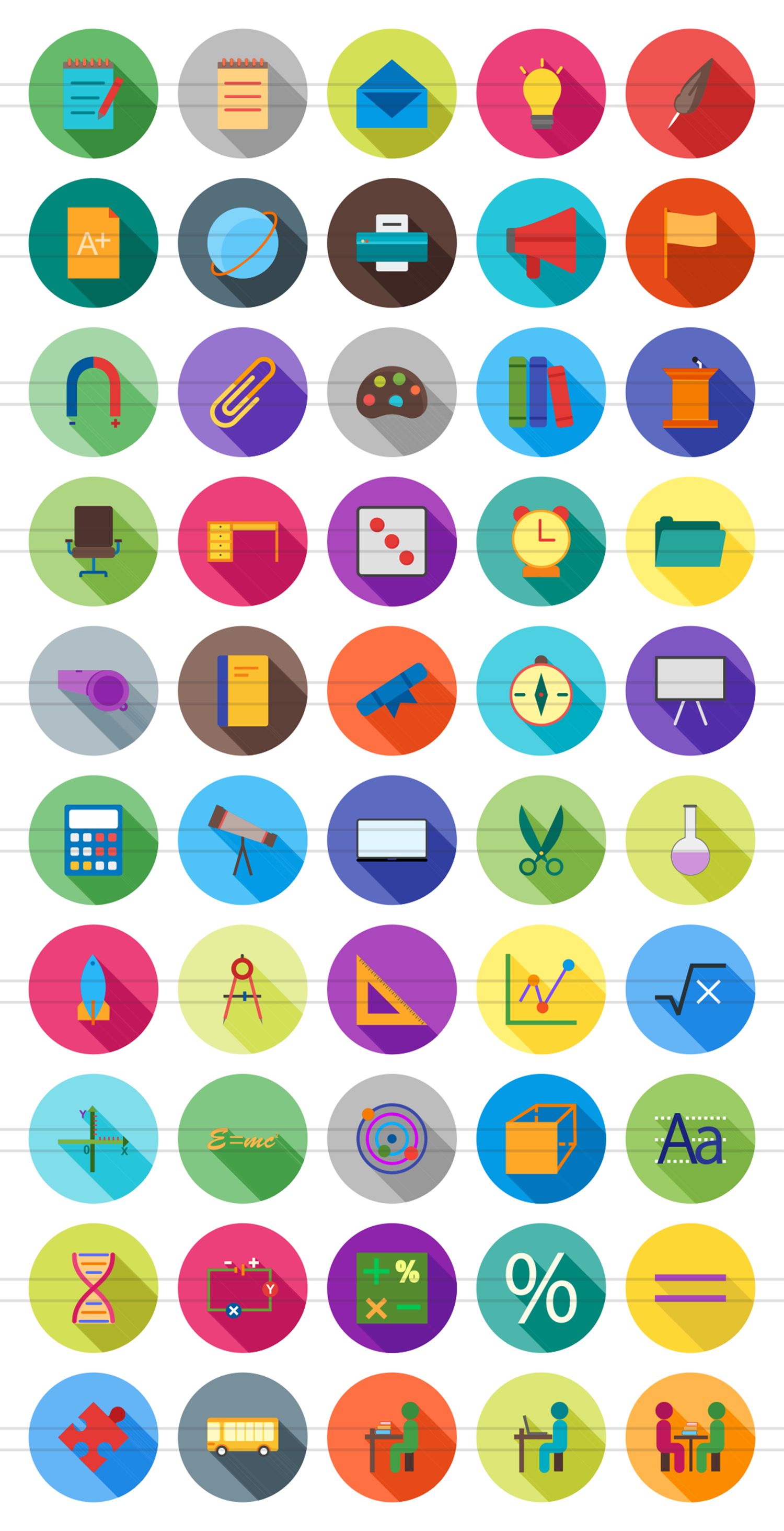 50 Education & Science Flat Long Shadow Icons example image 2