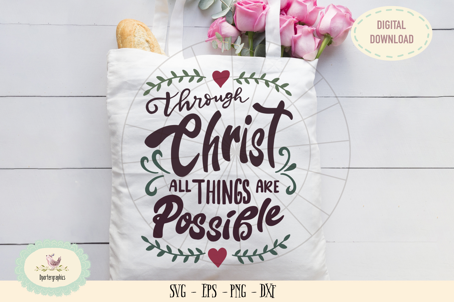 Through Christ all things are possible SVG cut file bible example image 1