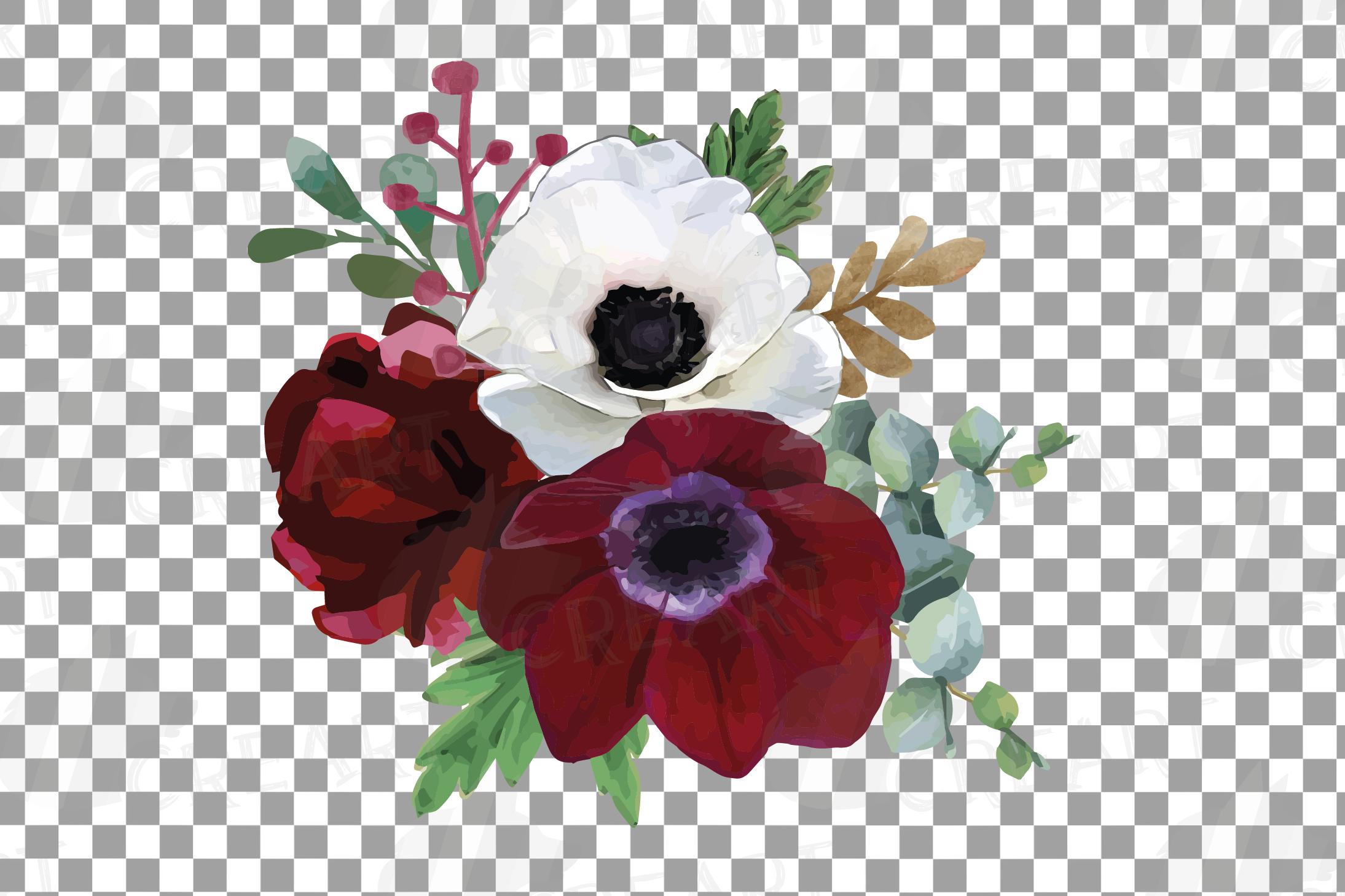 Watercolor elegant floral bouquets, rose, anemone decoration example image 3