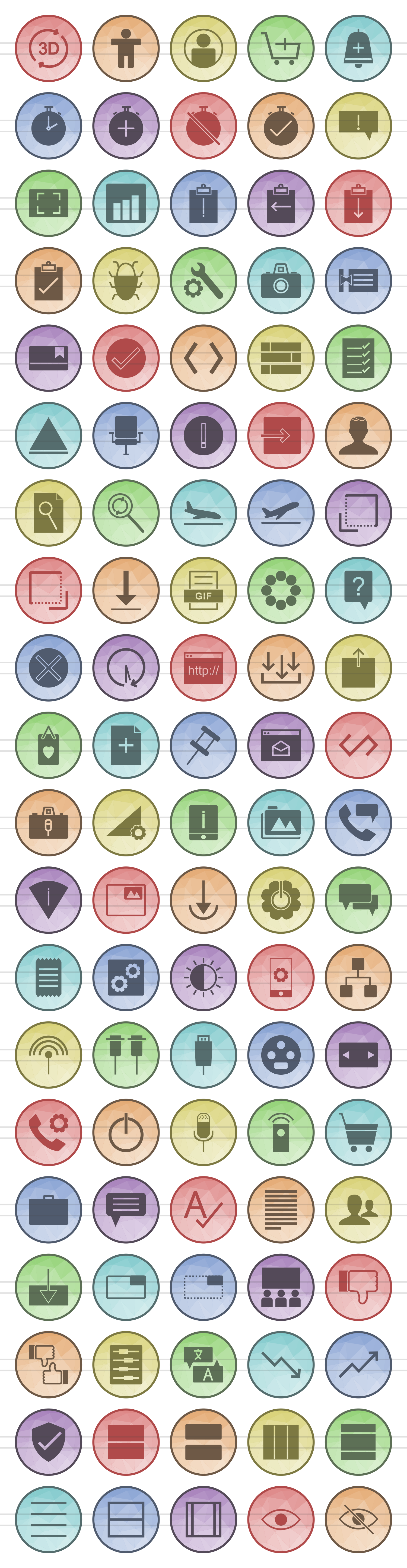 100 Material Design Filled Low Poly Icons example image 2