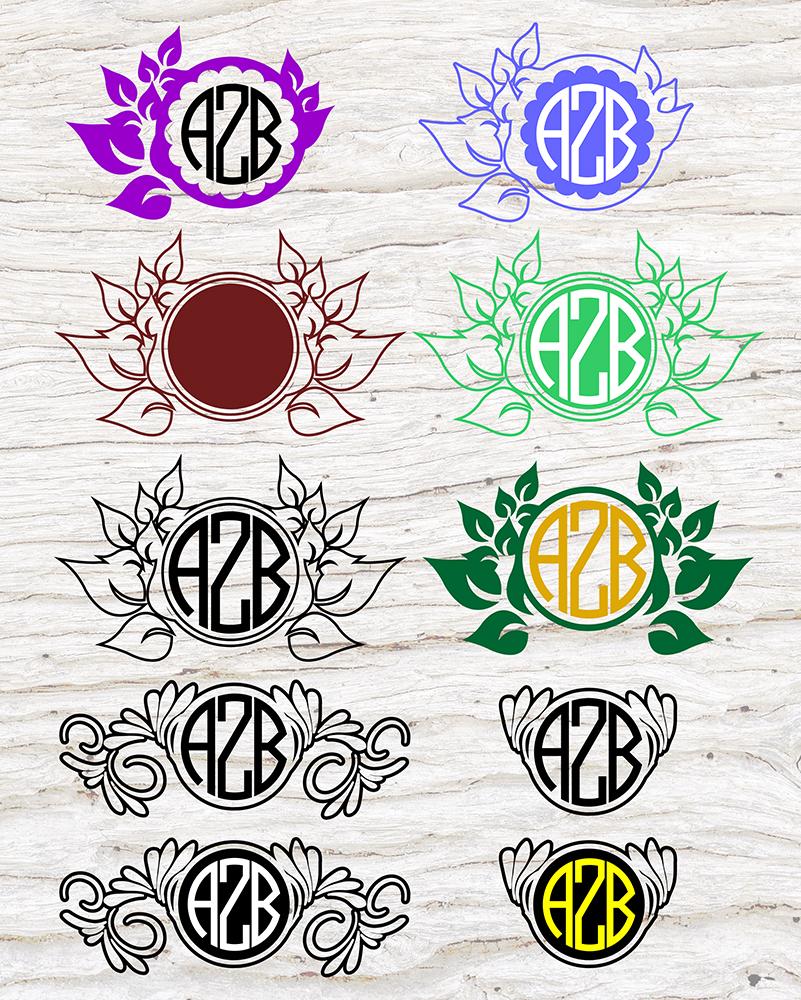 9 Floral Monograms Bundle SVG, DXF, JPG, PNG, DWG, AI, EPS example image 3