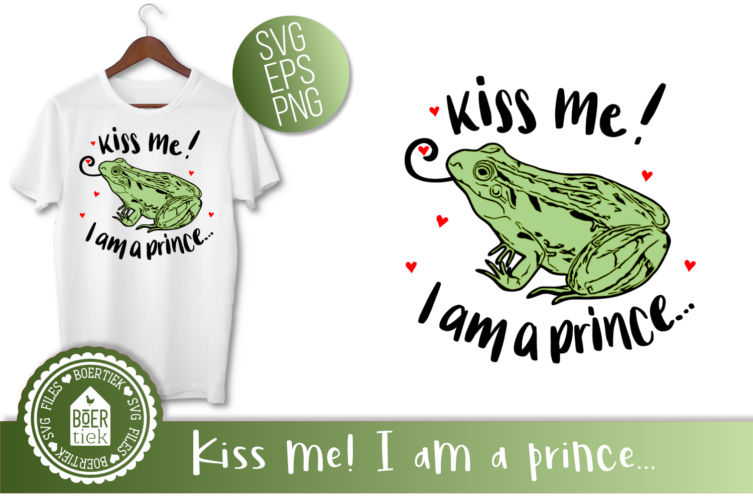 Frog - Kiss me! I am a prince, SVG cutting file example image 1
