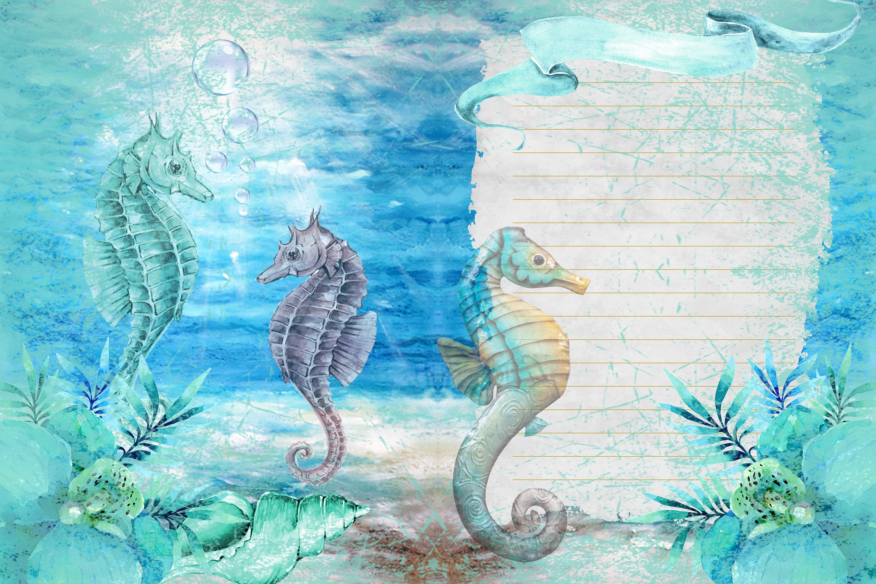 Seahorses Journaling pages FREE Clipart and Ephemera example image 3