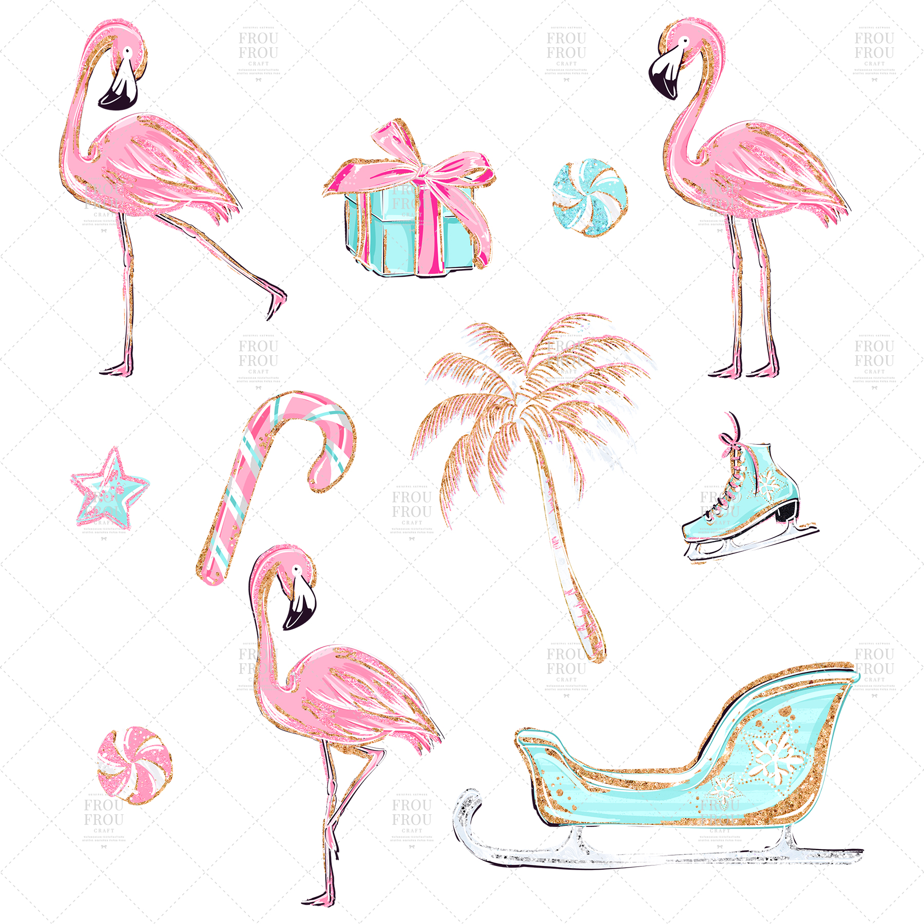 Pink Flamingo Christmas Presents Glitter Clip Art example image 8
