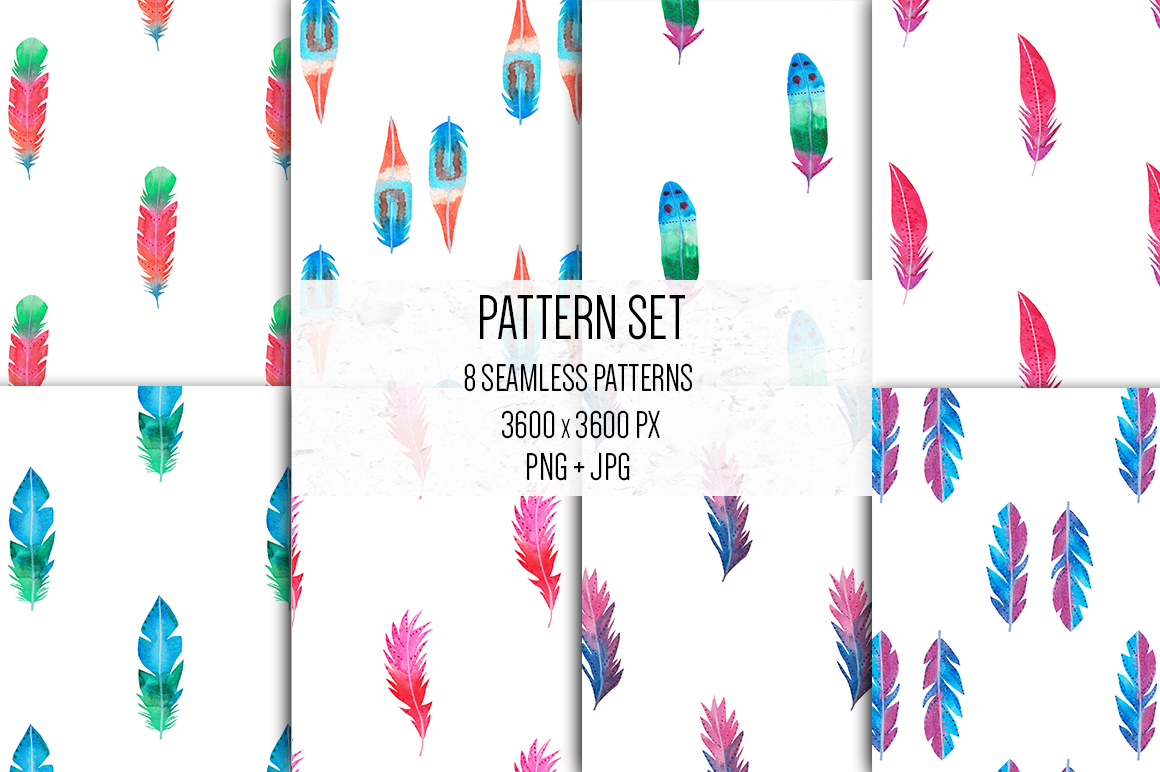 Watercolor Feathers Clipart, Watercolor Feather Illustration example image 5
