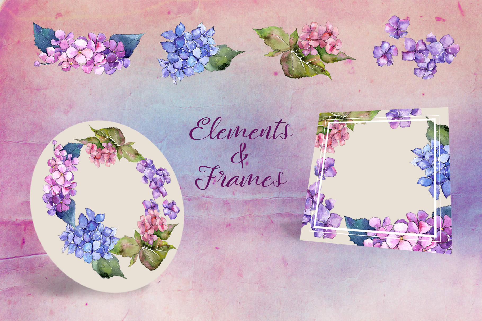 Hydrangea PNG watercolor flower set  example image 5