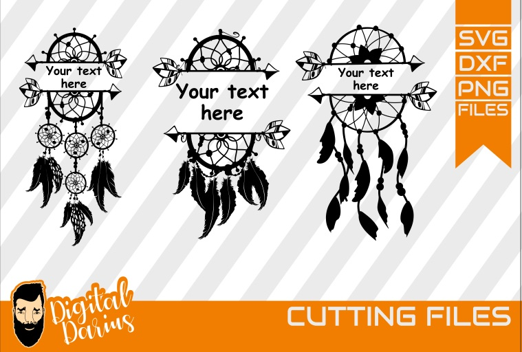 3x Dreamcatcher with your text svg, Feather svg, Dreams example image 1