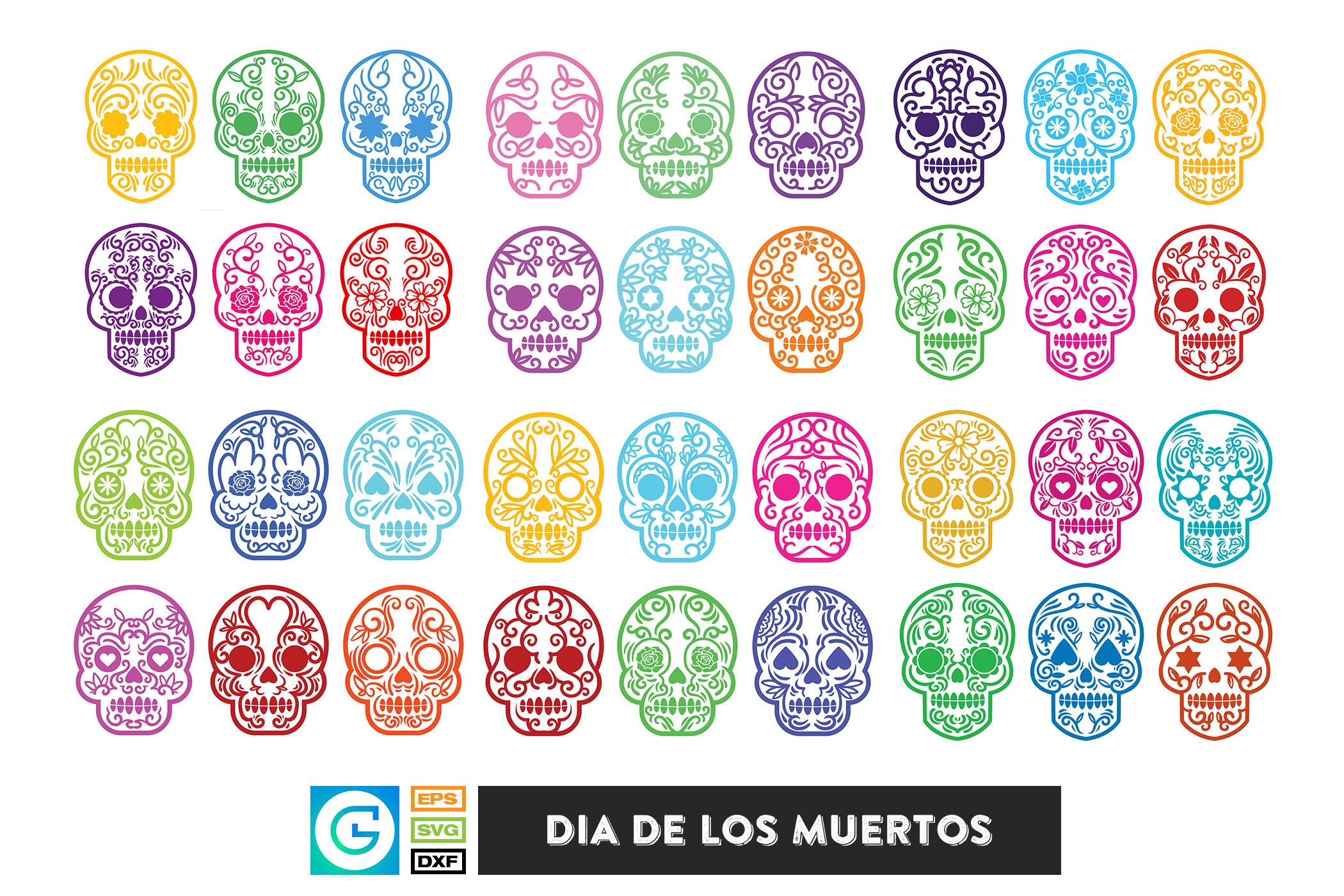 36 Dia de los muertos SVG, Day of the dead, sugar skull example image 1
