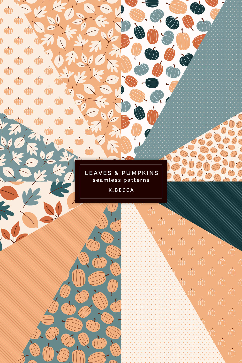 Fall Leaves & Pumpkins Background Patterns Seamless example image 8