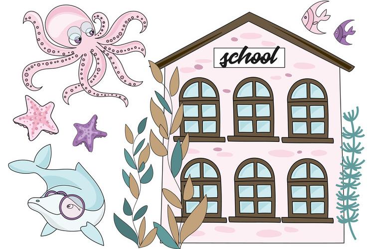 MERMAID SCHOOL Vector Illustration Animation Set example image 8