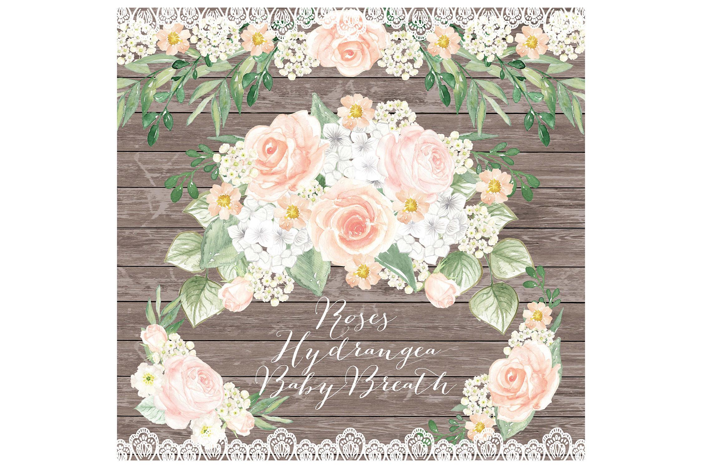 Watercolor Rustic Rose Peach Wreath Clip Art Example Image 1