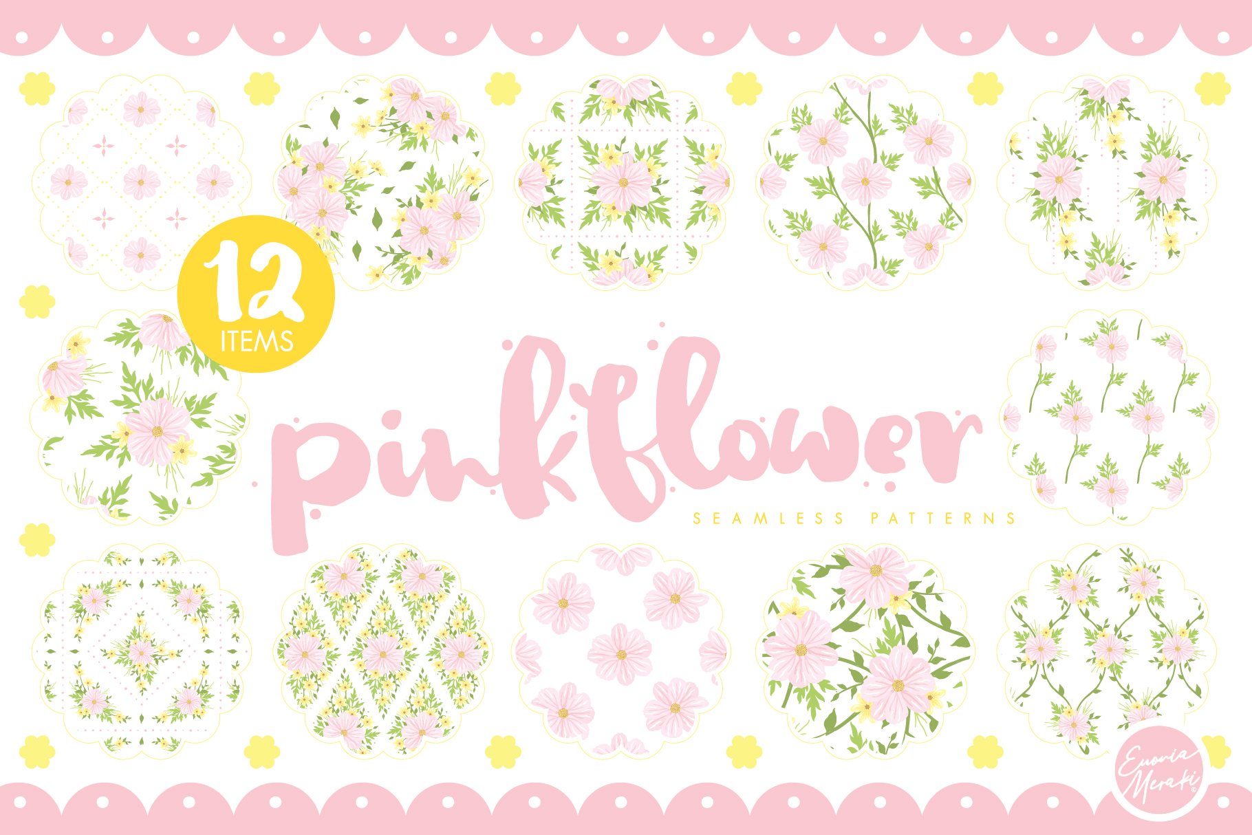 Pink Flower Seamless Patterns example image 1