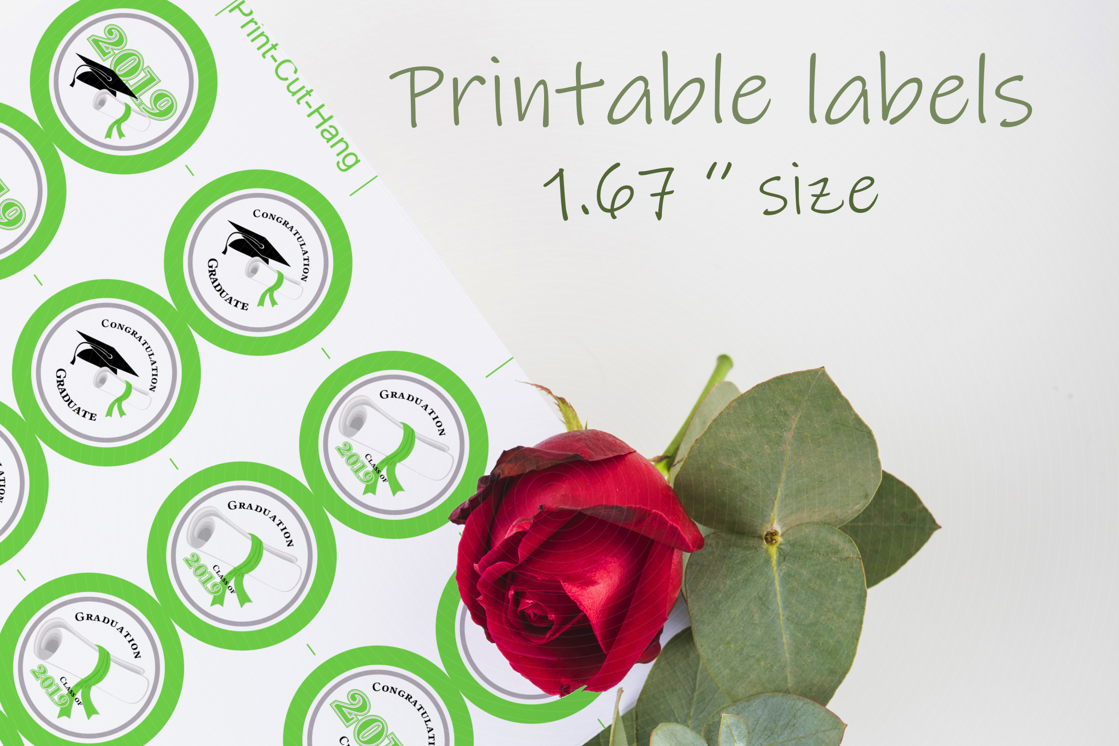 Green Printable Party Stickers Graduation 2019 - size 1.67 i example image 1