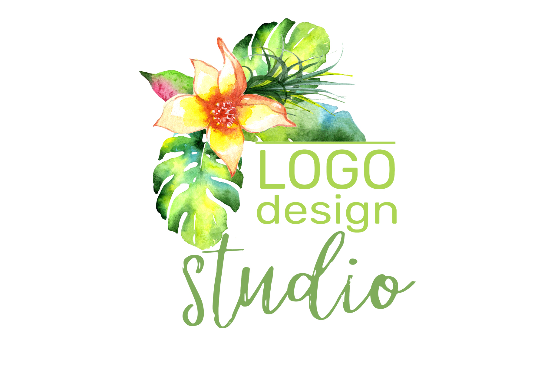 LOGO with bright tropical flowers Watercolor png example image 3