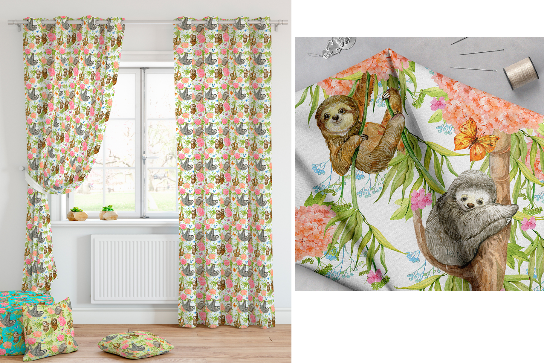 Sloths Seamless patterns example image 7