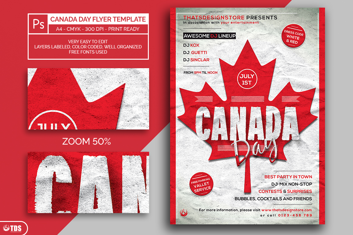 Canada Day Flyer Template example image 2