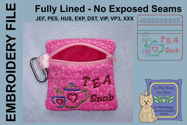 Tea Snob Tea Bag Holder Zipper Bag / Fully Lined, 4X4 HOOP example image 2