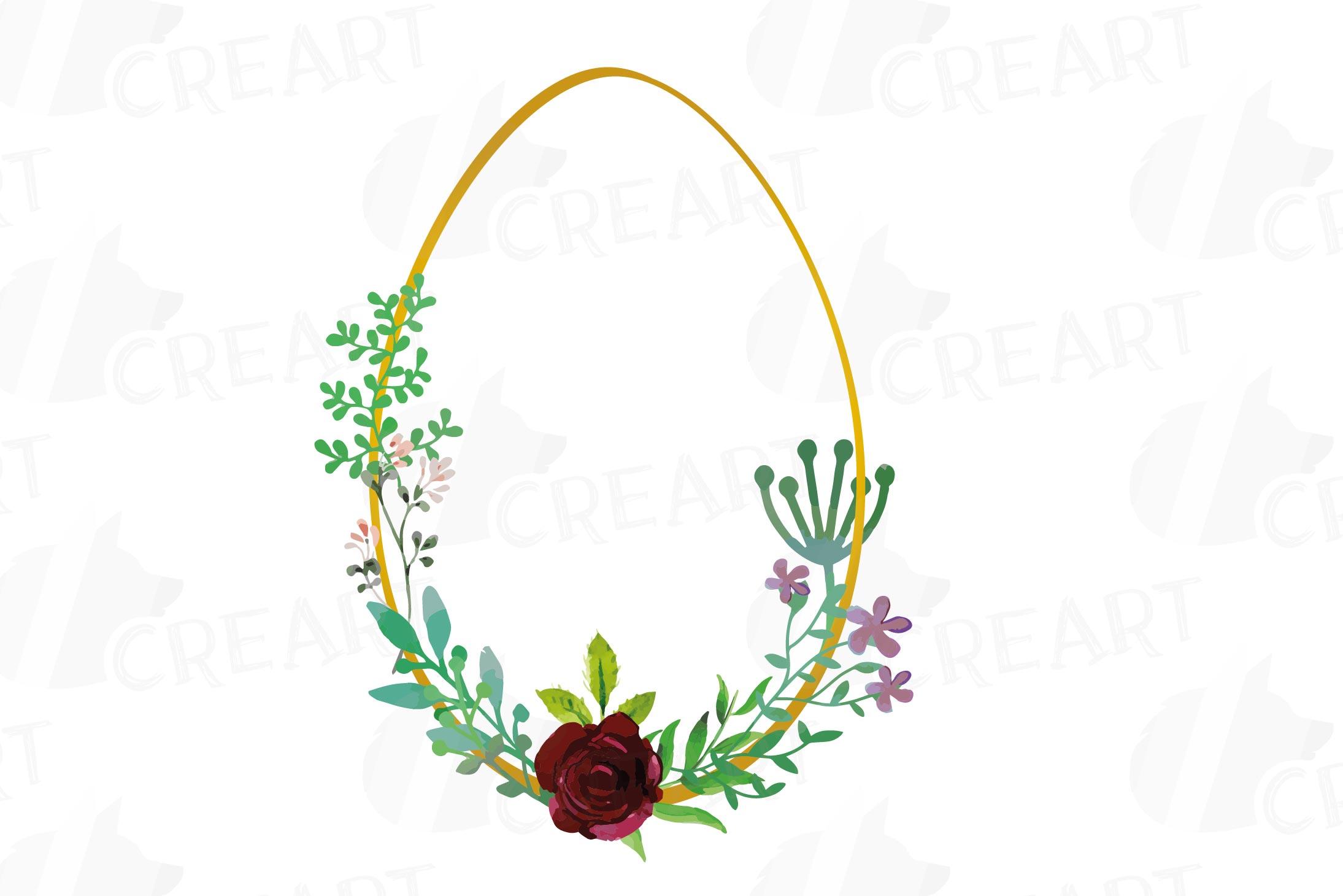 Easter golden watercolor floral frames, floral frames example image 3