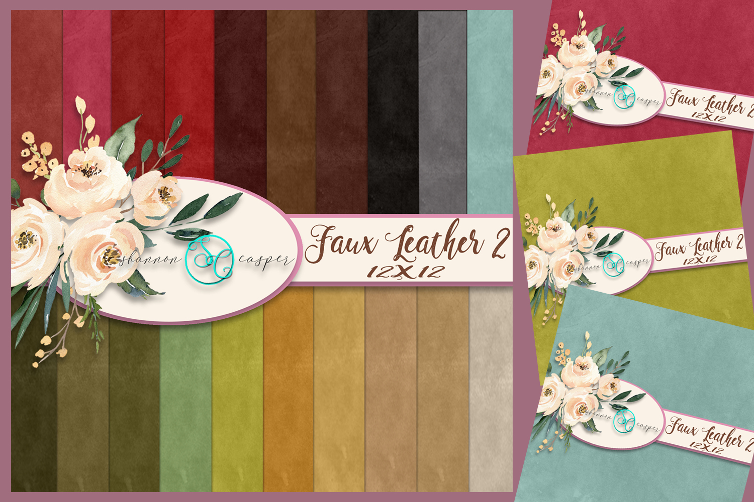 20 Faux Leather Look Scrapbook Digital Paper 12 X 12 example image 1