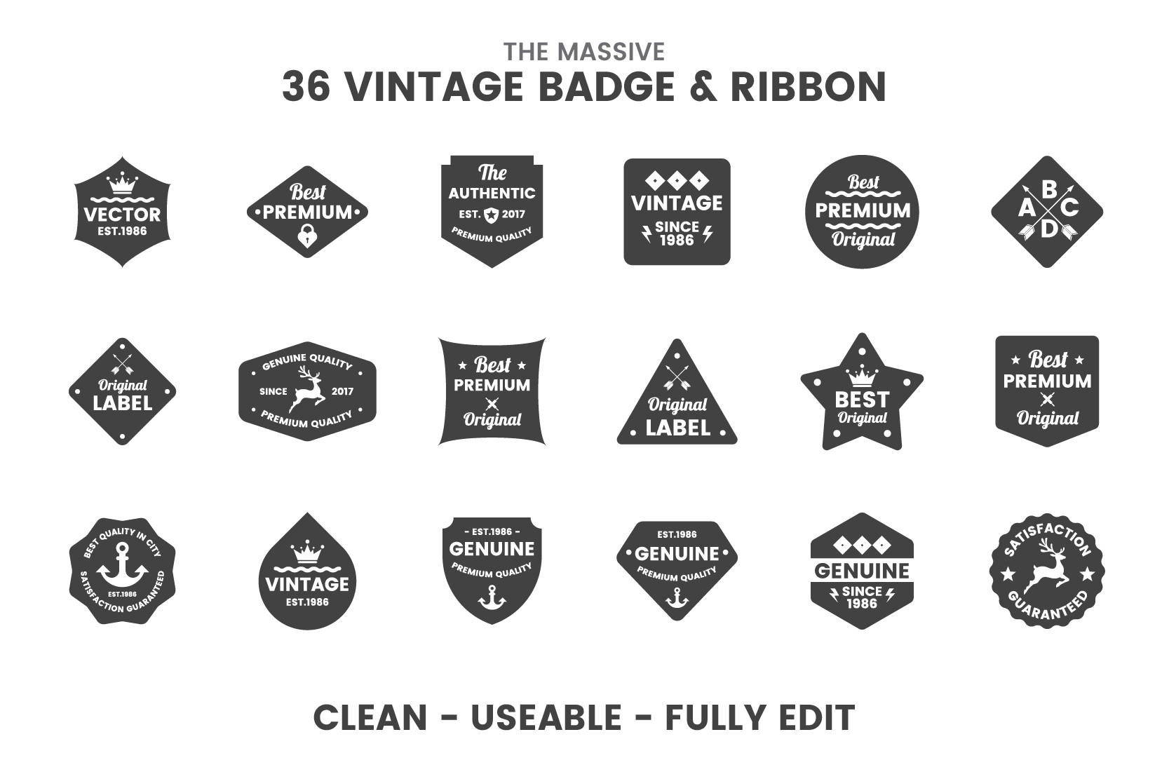 36 VINTAGE BADGE & RIBBON Vol.8 example image 2