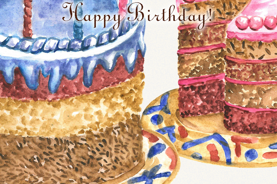 Birthday clipart, watercolor, happy birthday clipart example image 2