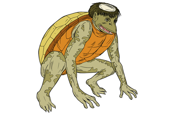 Kappa Monster Crouching Drawing example image 1