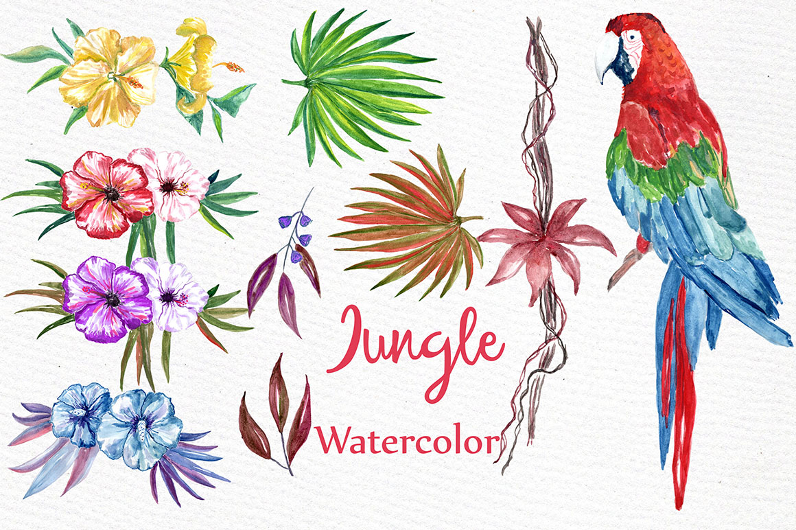 Watercolor Jungle clipart example image 3