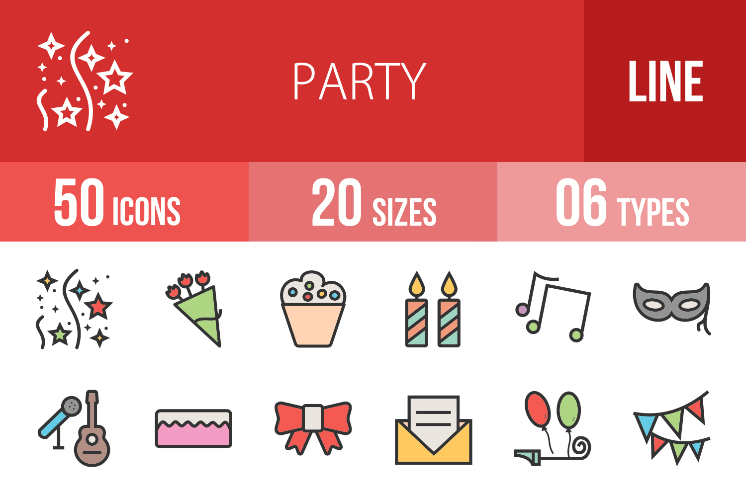 50 Party Linear Multicolor Icons example image 1