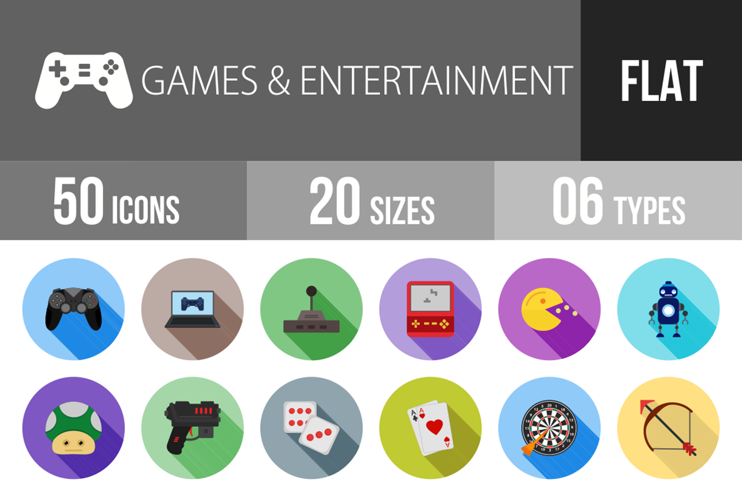 50 Games & Entertainment Flat Long Shadow Icons example image 1