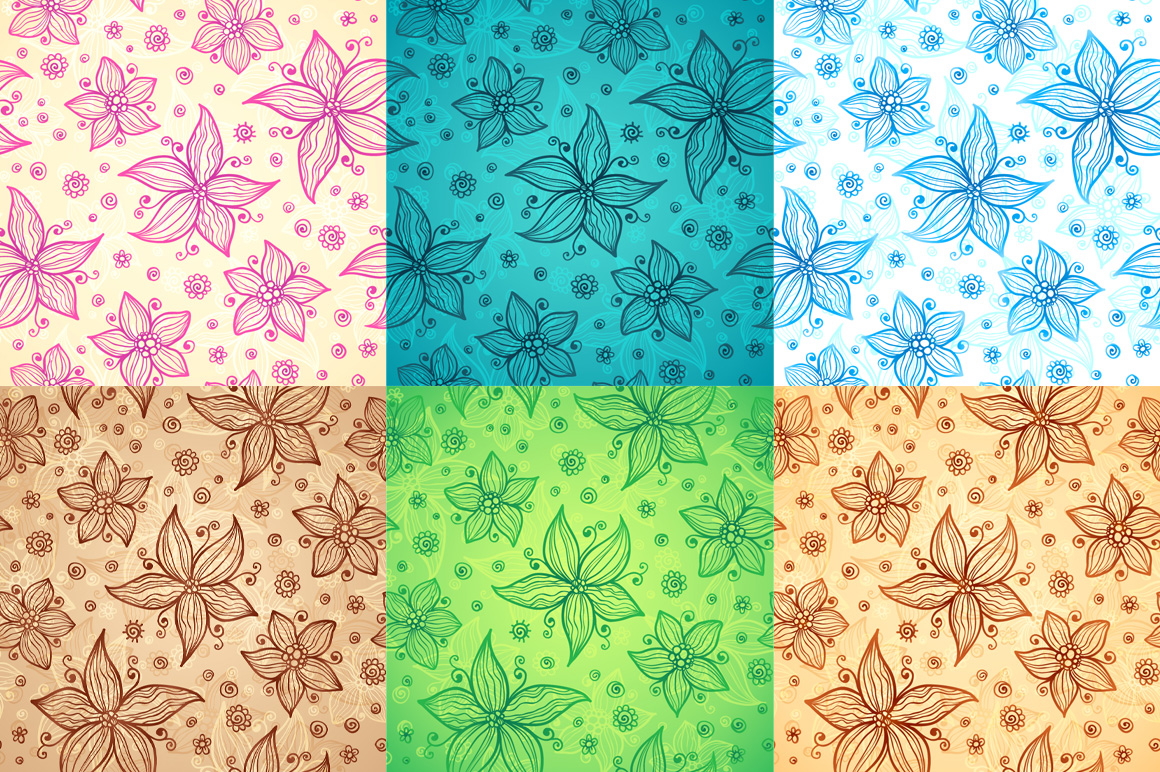 12 vector flowers seamless patterns example image 4
