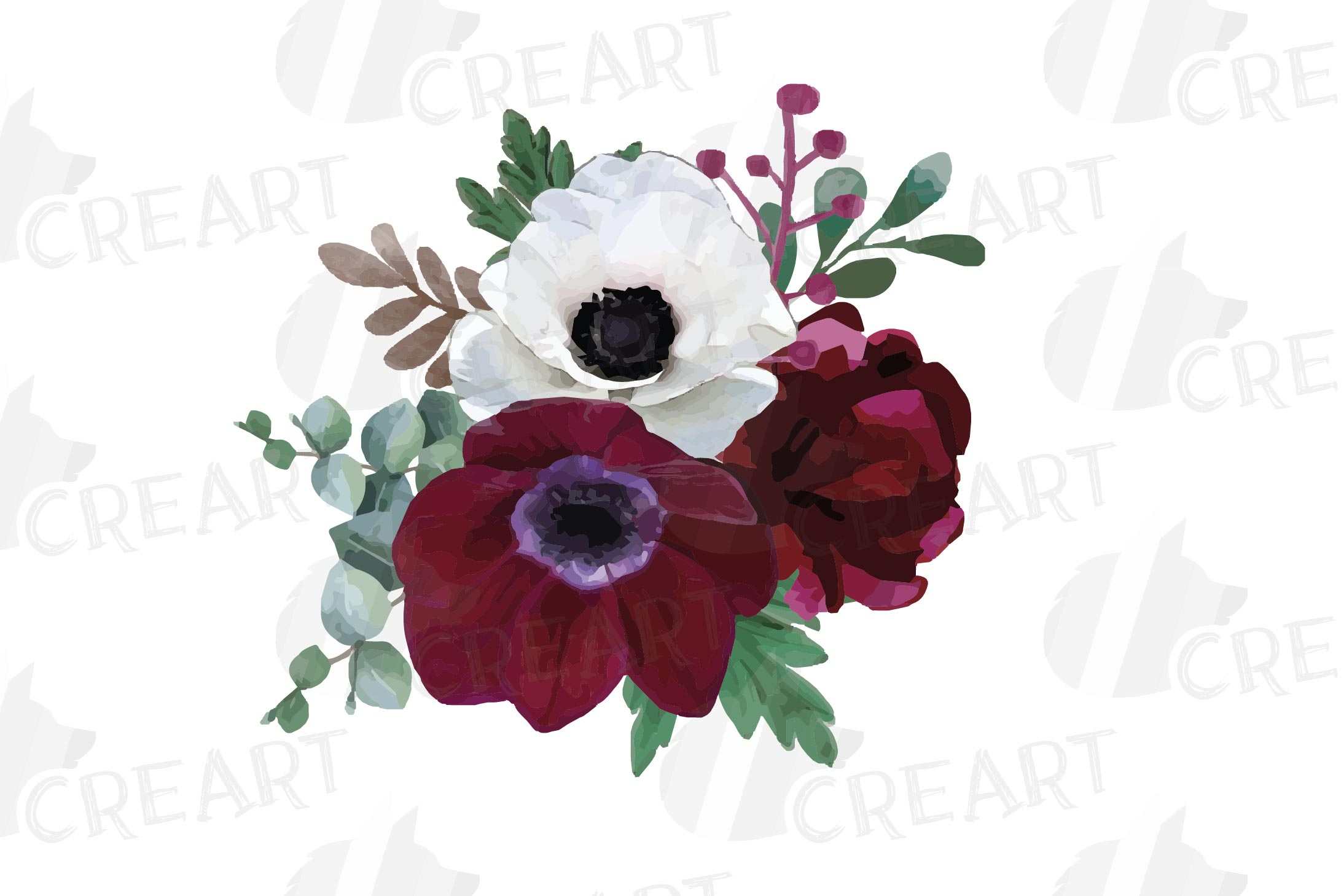 Watercolor elegant floral bouquets 2, rose, anemone decor example image 9