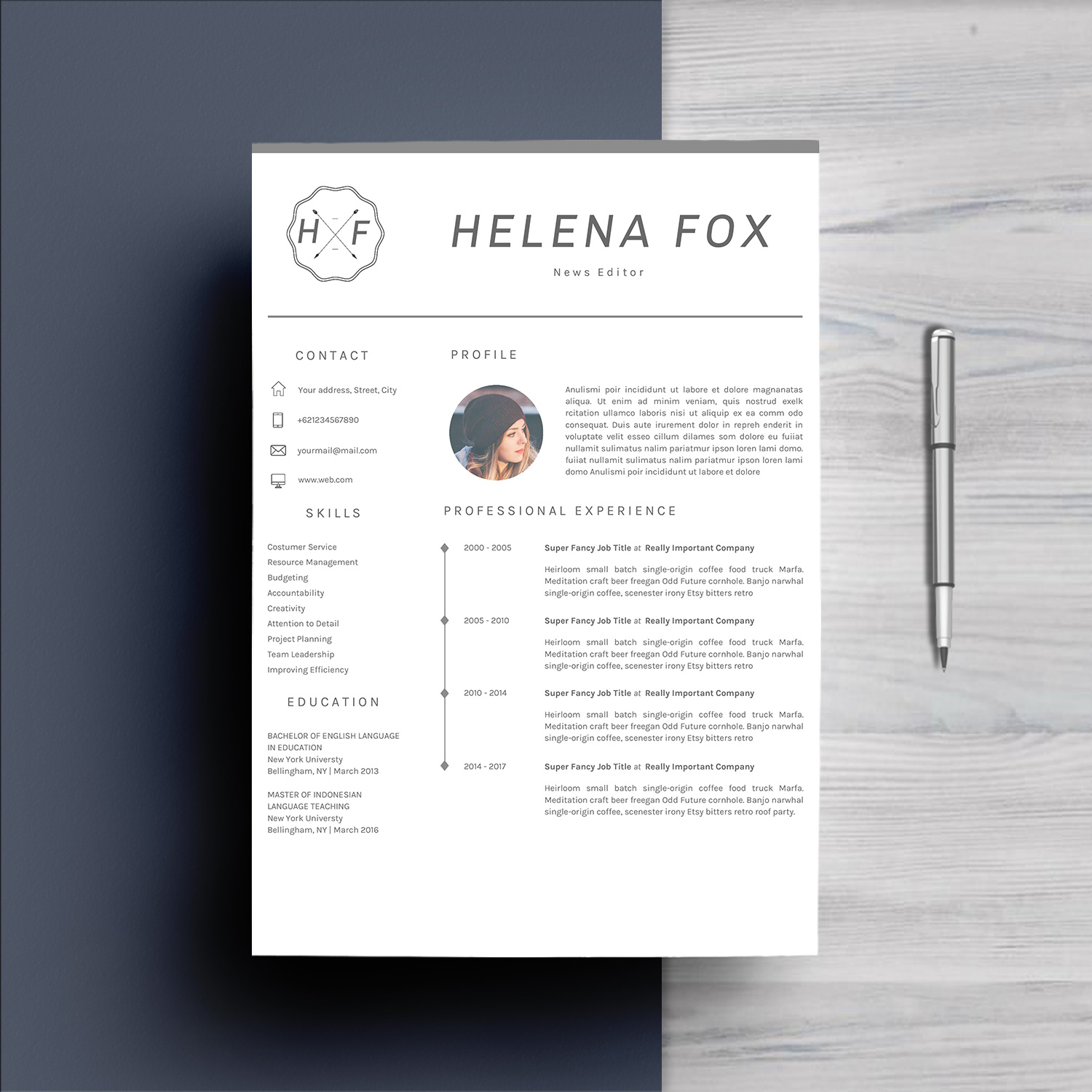 Creative Chic Resume Template 4 Pages example image 2