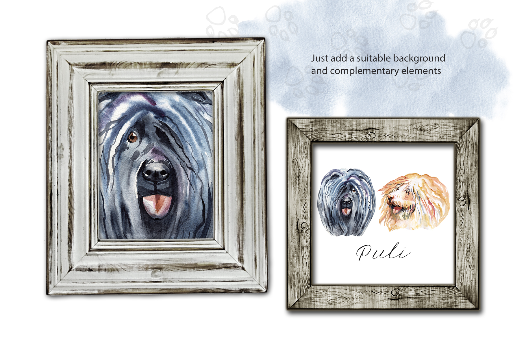 Watercolor dog - Puli example image 3