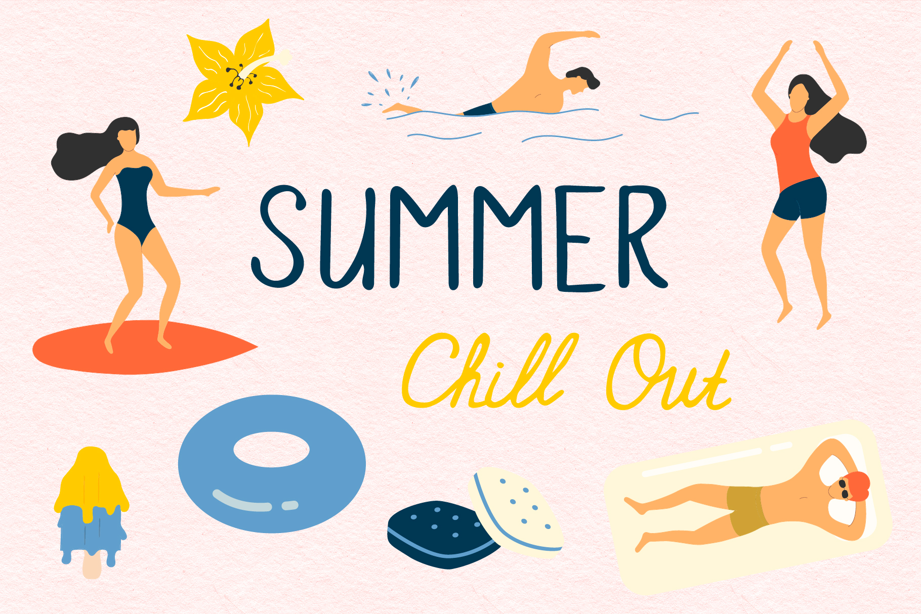 Summer Chill out - over 60 hand drawn summer elements example image 1