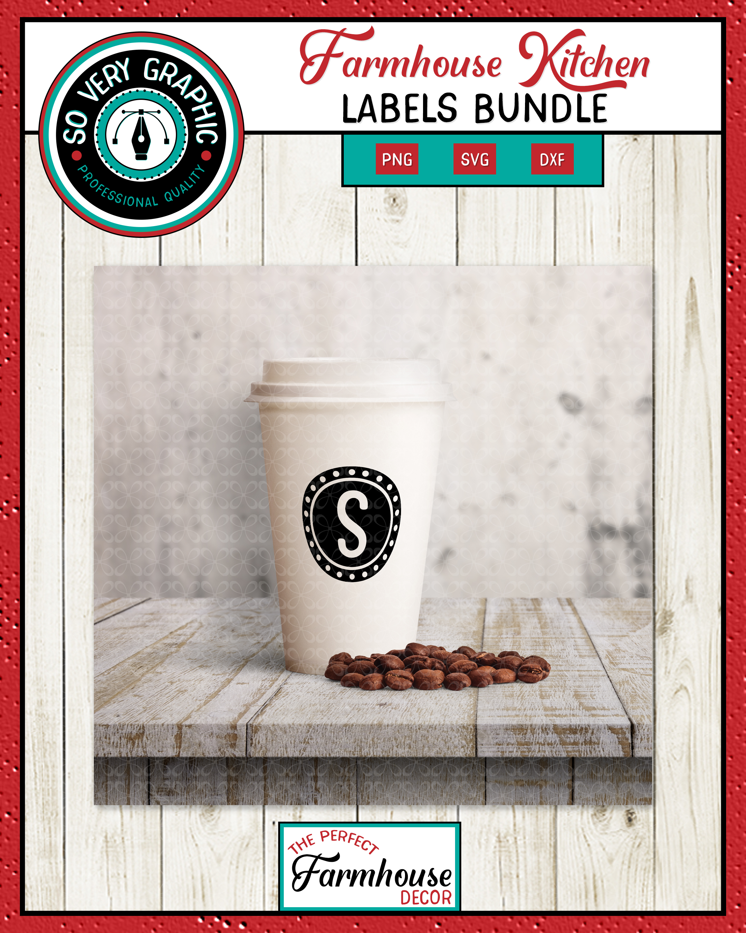 Farmhouse Kitchen Labels Bundle | Canister Pantry Decals SVG example image 6