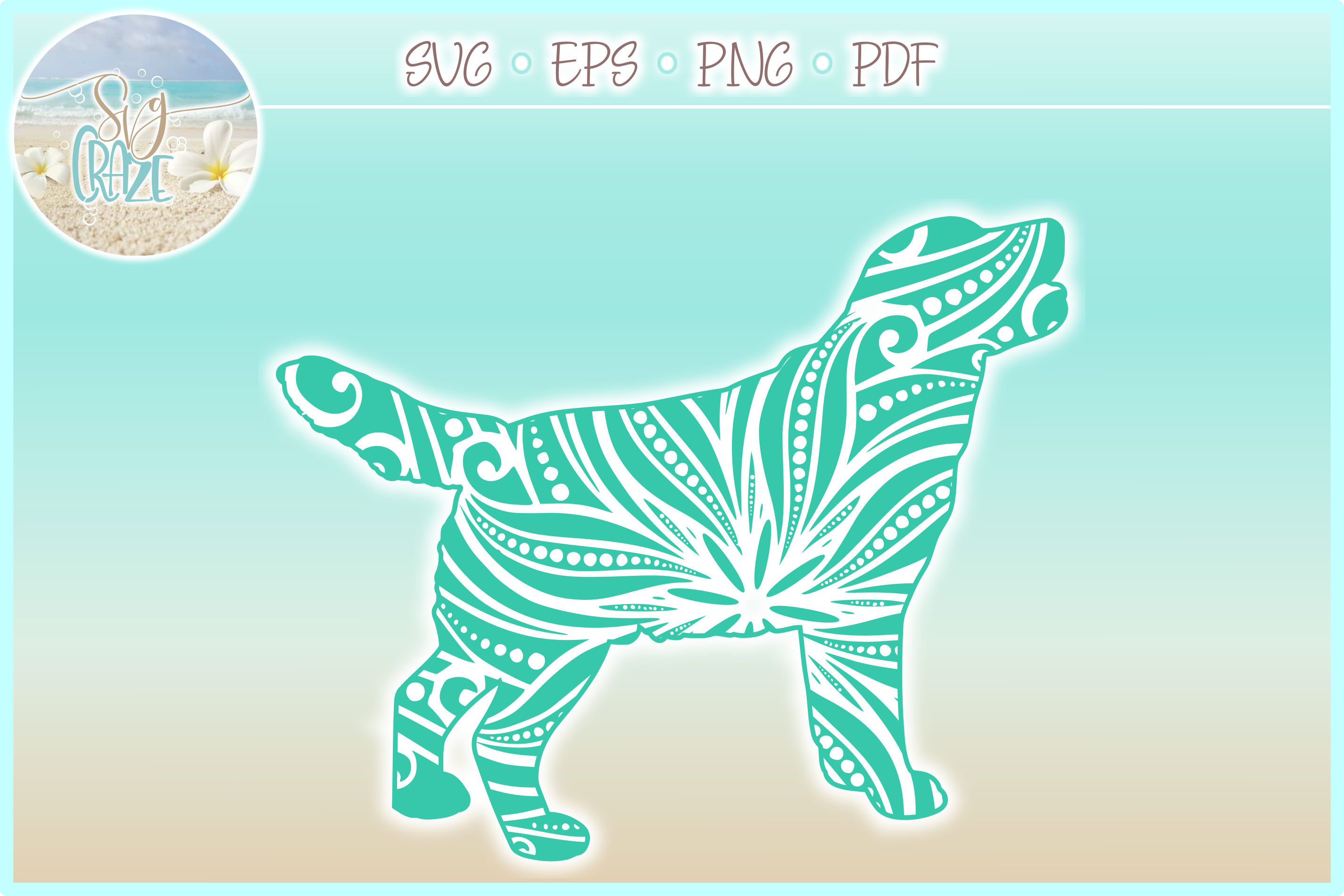 Golden Retriever Mandala Zentangle Bundle SVG Eps Png PDF example image 2