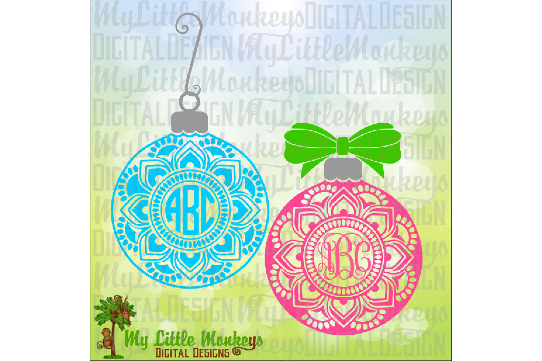 Mandala Flower Christmas Ornament with Bow Monogram Base example image 1