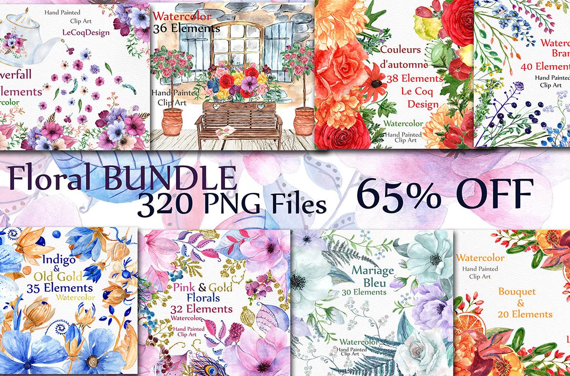 Bundle-Watercolor floral clipart example image 1