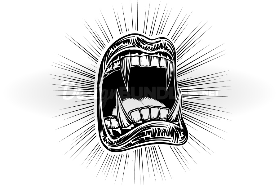 Vector Mouth Open Halloween Vampire Jaws Fang Stamp Print example image 2