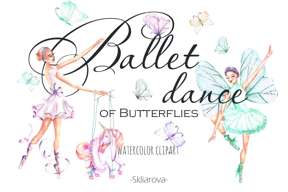 Ballet watercolor clip art example image 1
