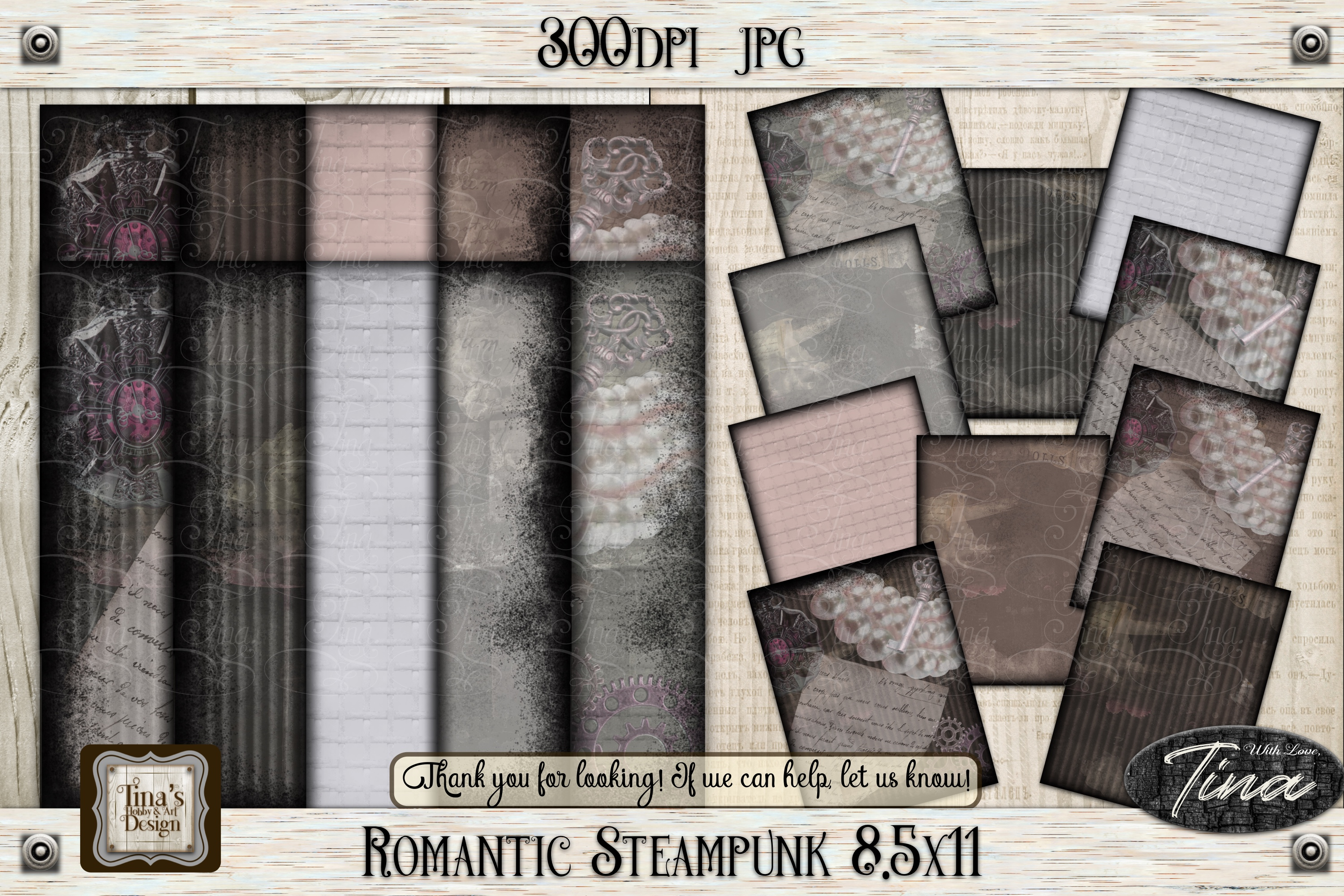 Romantic Steampunk 12 x 12 Collage Mauve Grunge 101918RS12 example image 2
