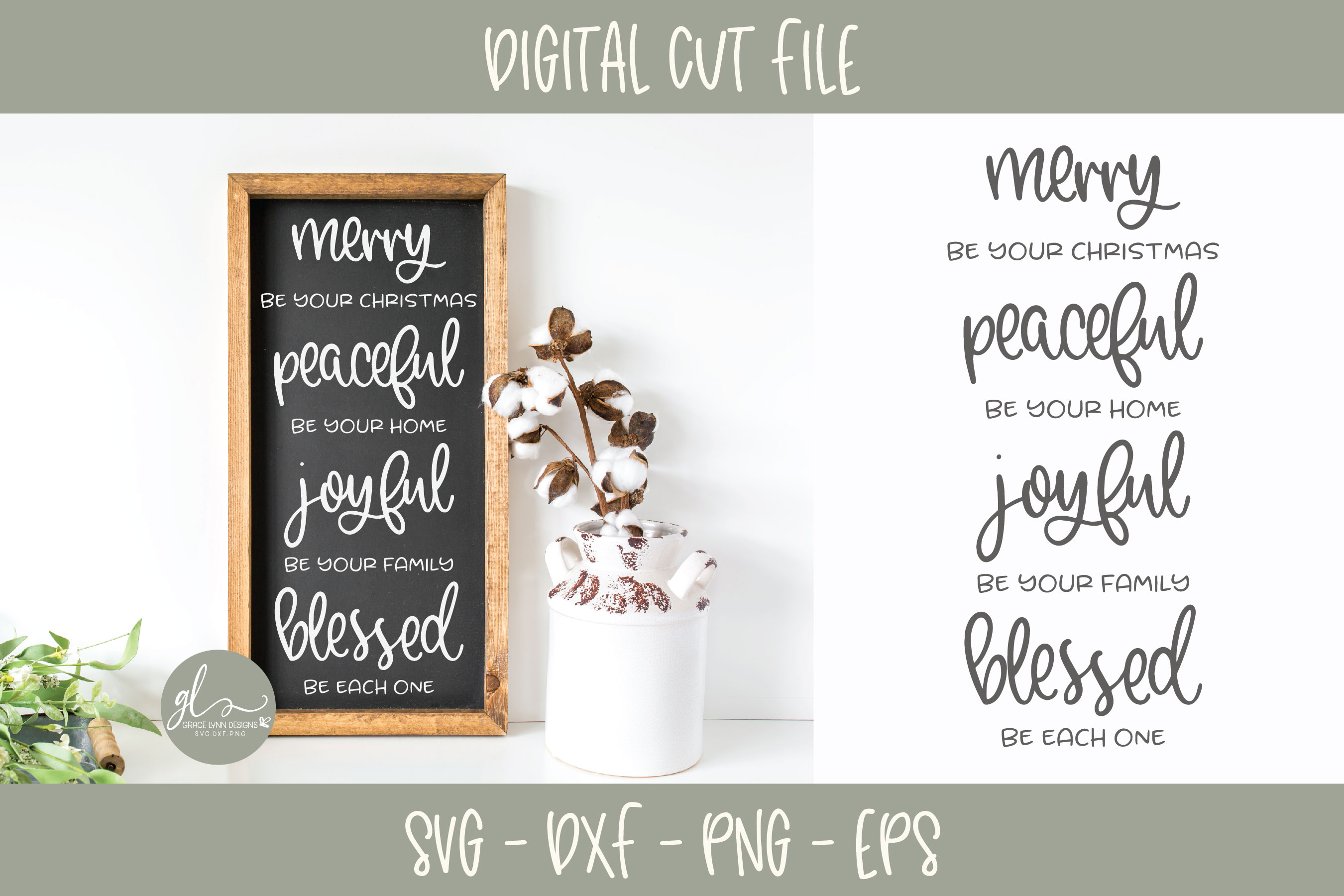 Merry Be Your Christmas Peaceful Be Your Home - SVG example image 2