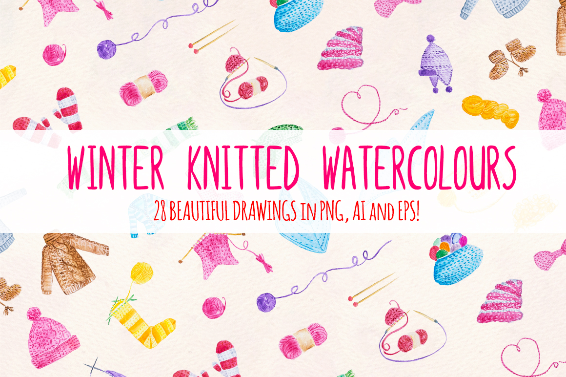 28 Knitting And Winter Clothes Watercolor Graphics example image 2