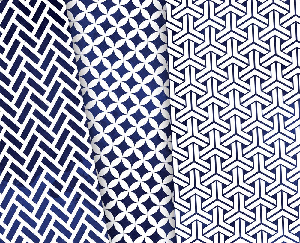 Navy Blue Digital Paper Japanese Background Patterns example image 3